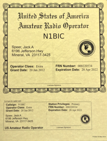 Steel Amateur Ham Radio License Frame w// call letters FCC logo,name /& license